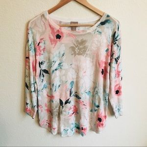 Chicos the floral pastel sweater size 1